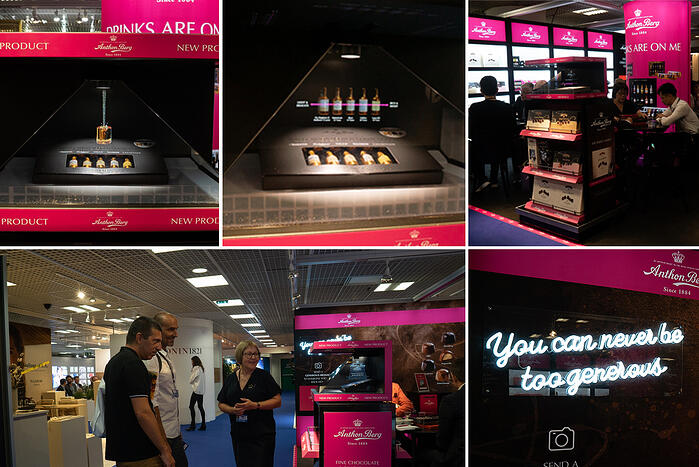 Holographic display for travel retail for Anthon Berg