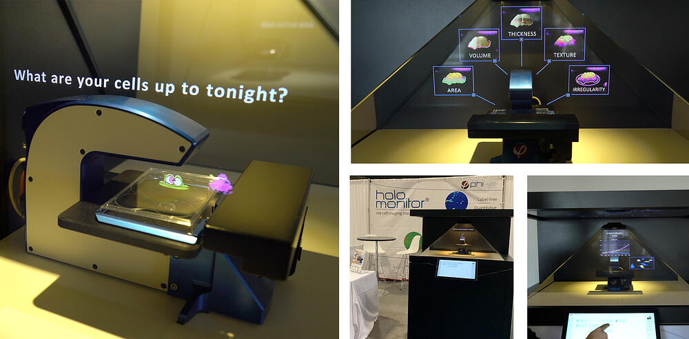 holographic display for expo with touchscreen